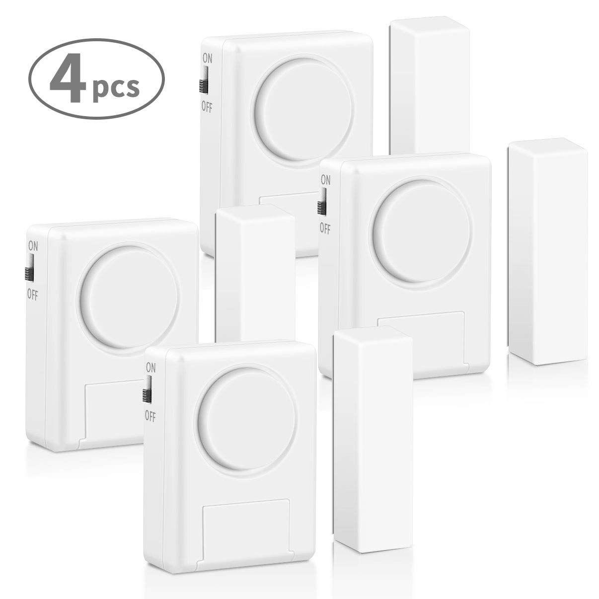 LingsFire Magnetically Triggered Alarms for Doors or Windows Home Security Window/Door Alarm Kit (4-Pack), Loud 100 dB Alarm