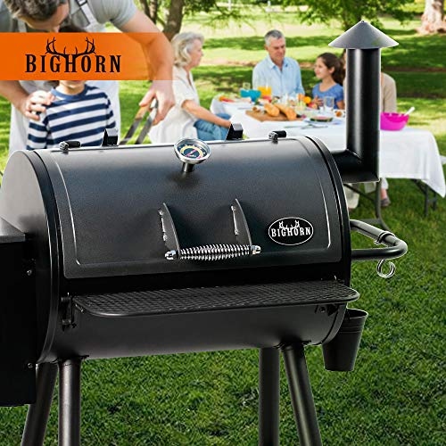 BIG HORN OUTDOORS Pellet Grill Wood BBQ Grill & Smoker, Auto Temperature Control, 700 sq inch Cooking Area, Black