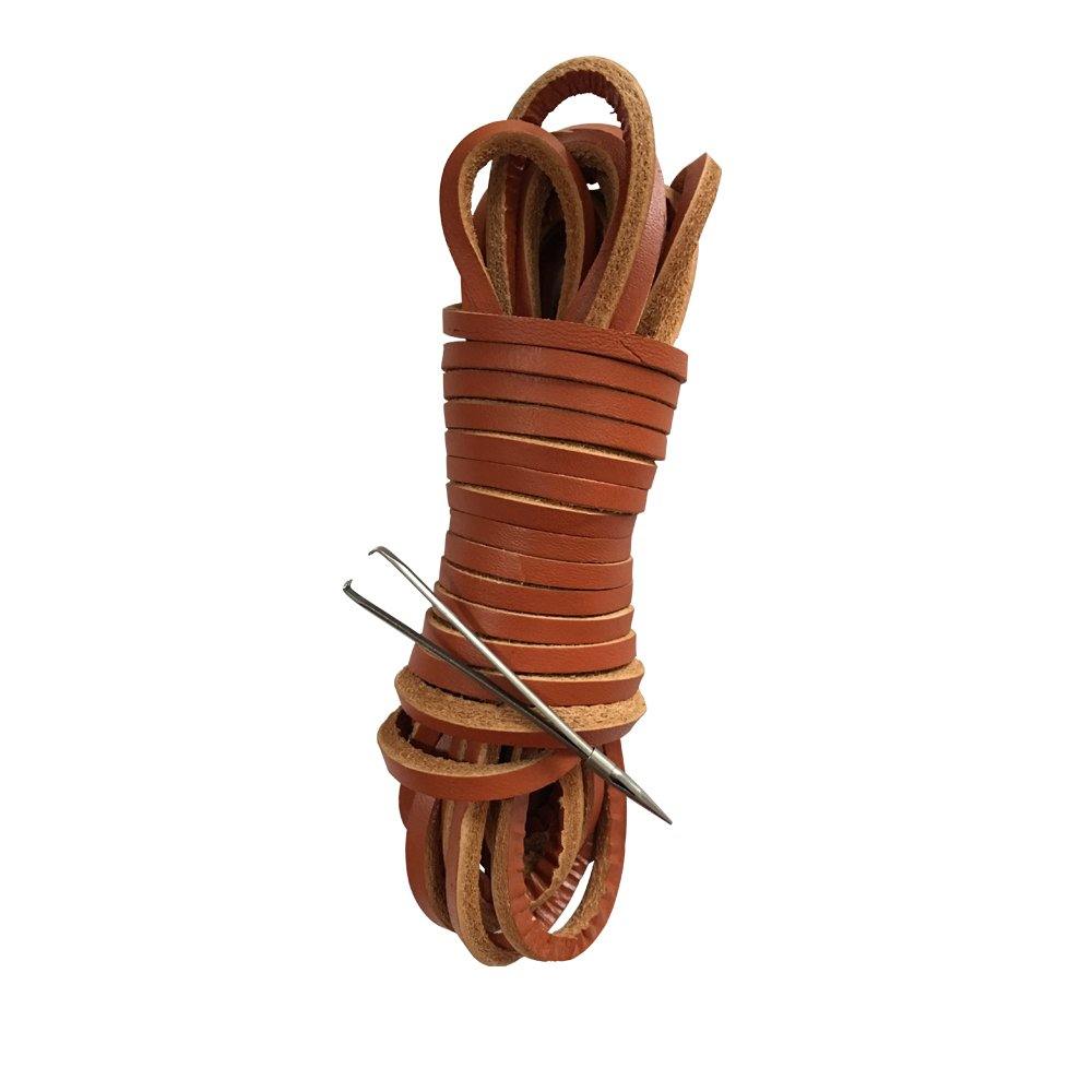 1 Pair of 63 inches Genuine Leather Shoelaces Square Cut 4mm (Brown+Lacing needle)