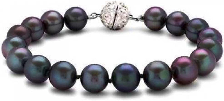 Silver Lilac Pearl Bead Crystal Diamante Stretch Elastic Bracelet Women Jewelry