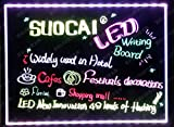 LDGJ 16''x12'' Flashing Illuminated Erasable Neon LED Message Writing Board Menu Sign (7 Colors of RGB 28 Flashing-Mode Remote Control, Metal Chain for Hanging up, Washable Eraser Cloth)