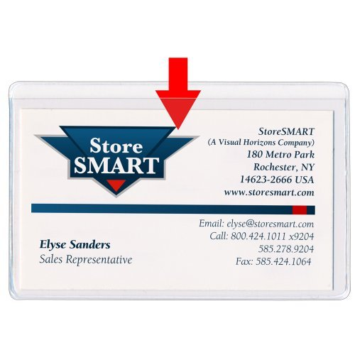 StoreSMART® - Business Card Holders - Non-Adhesive - Vinyl Plastic - Open Long Side - 10 Pack - PE222L-10