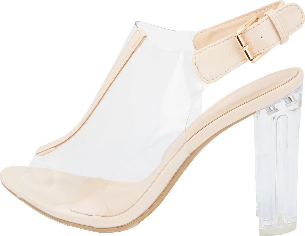 Top Moda Fenton 1 Womens Clear Chunky Heel Peep Toe Lucite Sandals Beige 5 by Top Moda (Image #7)