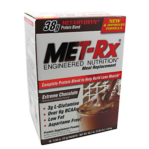 MET-Rx - Meal Replacement Protein Supplement Powder Extreme Chocolate - 18 Packet(s) Clearance Priced