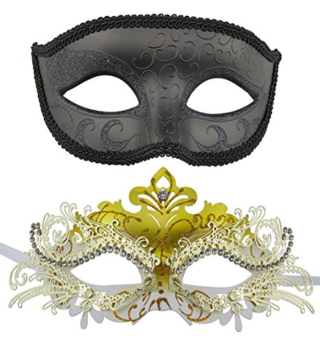 [Couple Masquerade Metal Masks Venetian Halloween Costume Mask Mardi Gras Mask (Black+Gold-White)] (Couple Costumes Black And White)