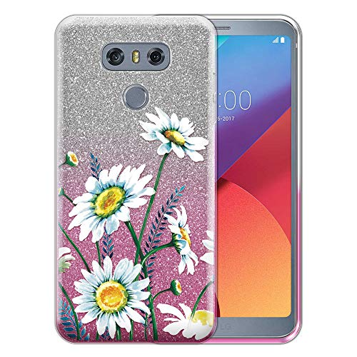 FINCIBO Case Compatible with LG G6 / G6+ Plus LS993 VS998, Shiny Sparkling Silver Pink Gradient 2 Tone Glitter TPU Protector Cover Case for LG G6 / G6+ Plus - Daisies Flowers