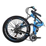 Eurobike 26' Full Suspension Mountain Bike 21 Speed Folding Bicycle Men or Women MTB (G6 Blue)