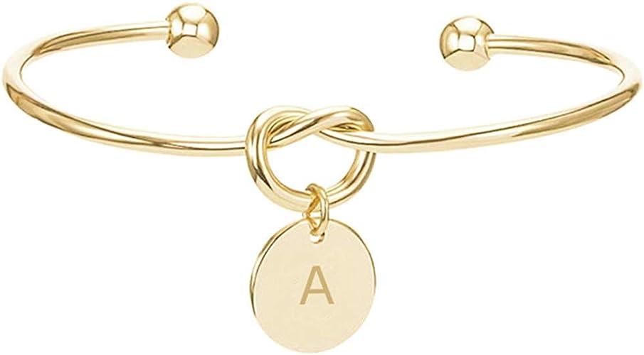 Simple 26 Letters A~Z Alphabet Initial Knot Bracelet Open Cuff Bangle Jewelry