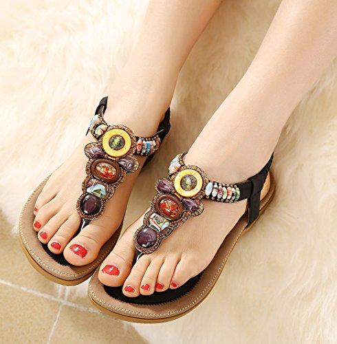 Aisun Femmes Boho Perlé Clip Toe Souple Élastique T Sangle Sandales Plates Tongs Tongs Chaussures De Plage Noir
