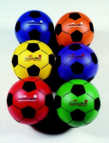 Sportime TechnoSkin Coated Indoor Foam Soccer Balls - Size 4 - 8 inch - Set of 6 - Assorted Colors by Sportime