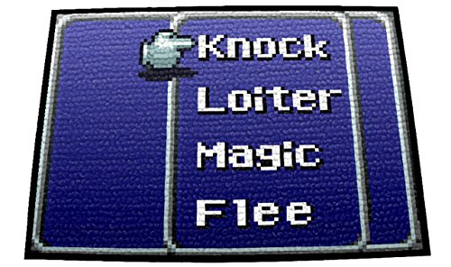 "PersonalThrows Retro RPG Menu Doormat Welcome Floor Mat Durgan Non-Slip Backing, 18"" L x 24"" H, Black"