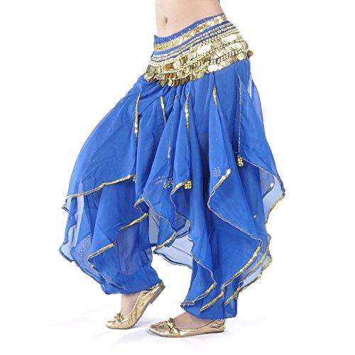 Jojobaby Belly Dance Harem Pants Bollywood Arabic Dance Tribal Costume Pants (Navy Blue)