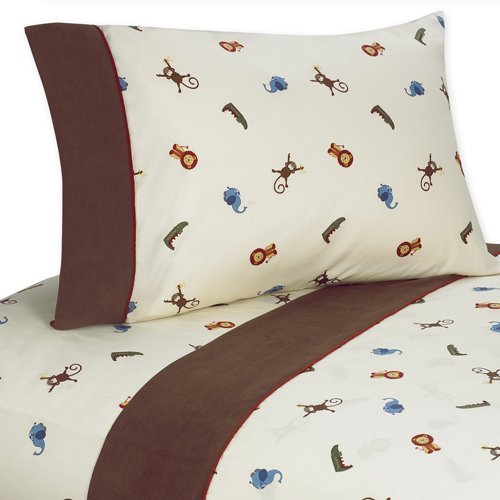 3 pc Twin Sheet Set for Jungle Time Bedding Collection by Sweet Jojo Designs