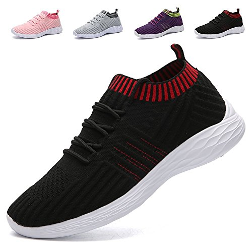 AoSiFu Women's Lightweight Walking Shoes Breathable Mesh Casual Sport Shoes Fashion Sneakers Black38 by AoSiFu