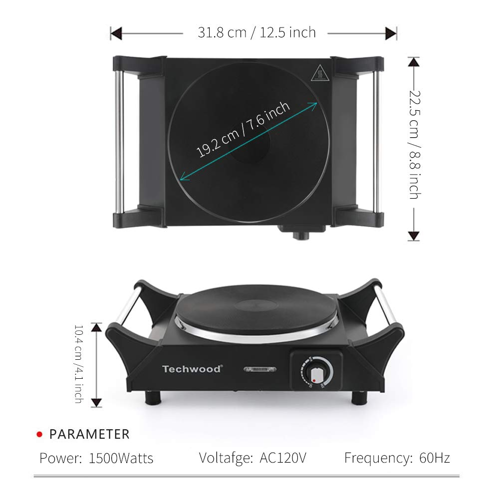 Techwood Hot Plate Electric Single Burner Portable Burner, 1500W with Adjustable Temperature, Stay CoolHandles, Non-Slip Rubber Feet, Black Stainless Steel Easy To Clean, Upgraded Version ES-3103 by Techwood (Image #6)
