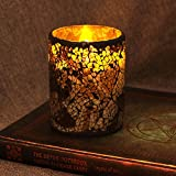 DFL 3*4 Inch Coffee Glass Flameless Led Candle with Timer,Work with 2 C Battery