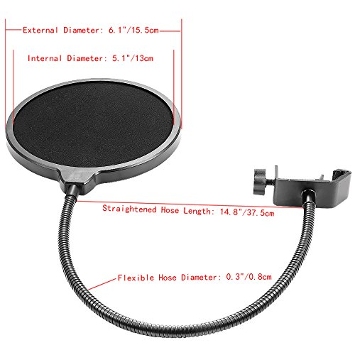 Neewer NW(B-3) 6 inch Studio Microphone Mic Round Shape Wind Pop Filter Mask Shield with Stand Clip (Black Filter) - Image 2