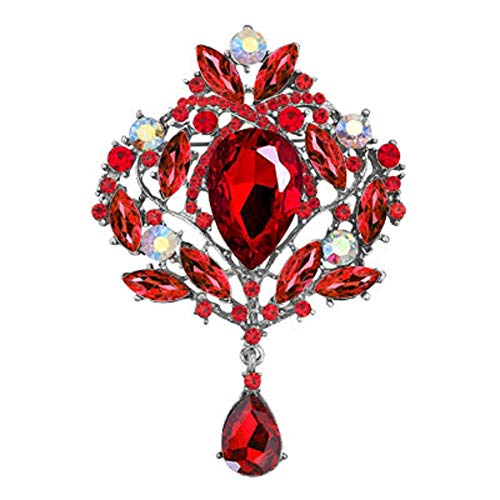 JewelryHouse Gorgeous Austrian Imitation Crystal Rhinestone Wedding Brooch Pin (Red)