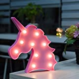 WED LED Unicorn Head Marquee Sign Lights, Unicorn Head Shaped LED Night Lamp Light for Home Wall/Chistmas/Table/Birthday/Party/Wedding/Bedroom/Living Room Decorations, Children Kids Gifts