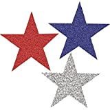"Red White and Blue Fourth of July Party Glitter Stars Cutout Decoration, foil, 7"", Pack of 10"
