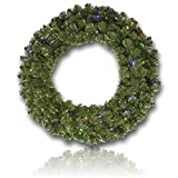 Custom & Unique (48'' Inches) 1 Single XL Size Decorative Holiday Wreath for Door w/ Artificial Winter Yule Time Christmas Traditional Festive Flocked Fir Pine Branches & Leaves Style (Multi-Color)