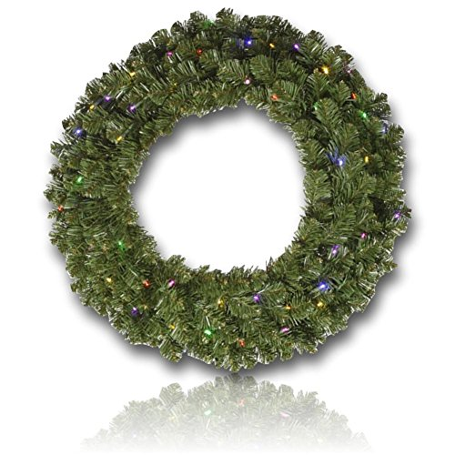 Custom & Unique (48'' Inches) 1 Single XL Size Decorative Holiday Wreath for Door w/ Artificial Winter Yule Time Christmas Traditional Festive Flocked Fir Pine Branches & Leaves Style (Multi-Color) by mySimple Products