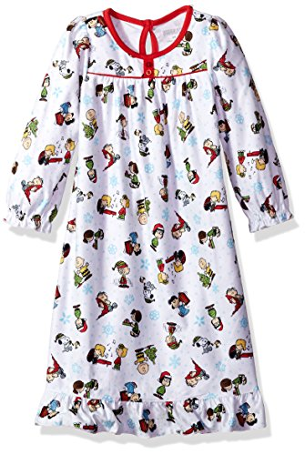 Peanuts Toddler Girls' Holiday Granny Gown, White, 4T