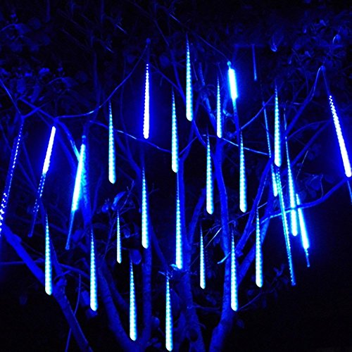 LED Falling Rain Lights, LED Fairy String Lights Meteor Shower Falling Rain Drop Lights for Party Wedding Christmas Trees Decorations (8 Tubes, 30cm, 144 LEDs, Blue)