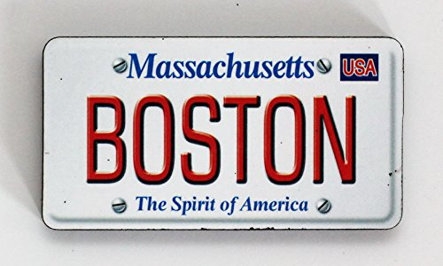 Boston Massachusetts License Plate Wood Fridge Magnet 3
