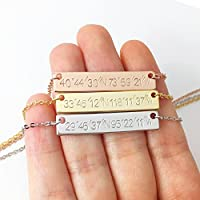 Hand stamped Custom Coordinates Necklace in Gold Silver Rose Gold Personalized Name Initial Gifts - 4N