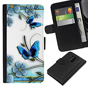Planetar® Modelo colorido cuero carpeta tirón caso cubierta piel Holster Funda protección Para LG G3 ( Mariposa floral blanco pétalo de la flor )