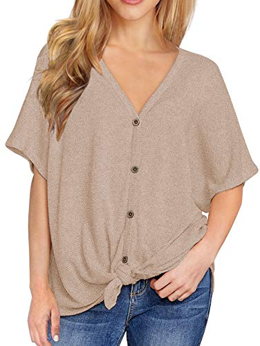- IWOLLENCE Womens Loose Henley Blouse Bat Wing Short Sleeve Button Down T Shirts Tie Front Knot Tops Khaki L