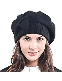 Lady French Beret 100% Wool Beret Knit Beanie Winter Hat HY022