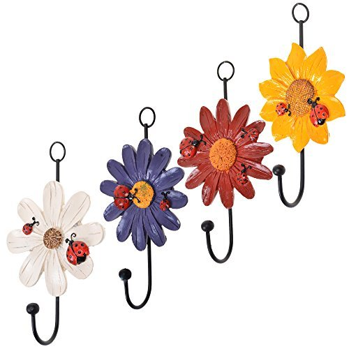 COSMOS Pack of 4 Assorted Colors Vintage Metal and Polyresin Art Flower Design Decorative Key Hat Cloth Towel Hooks Wall Hanger
