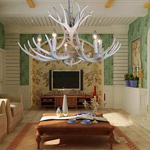 Resin Antler Chandelier,Deer Horn 5 Lights Vintage Style Ceiling Light 1 Layer Antique Chandelier Suitable for Living Room,Dining Room BN1060-5B,White