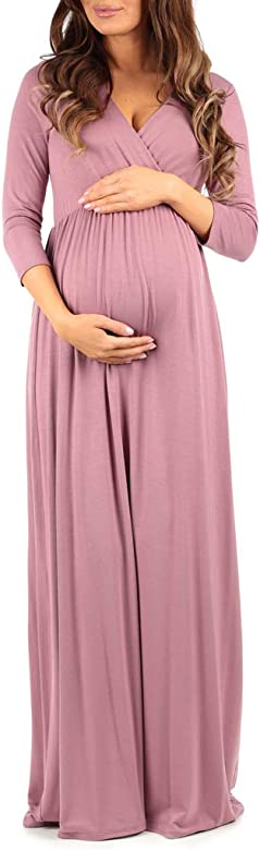Floor-length Ruched Maternity Dress