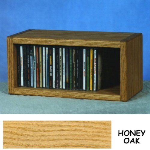 Solid Oak CD Floor Shelf or Wall Mount Cabinet - 1 Shelf - Holds 32 CDs (Honey Oak) (6.75''H x 14.5''W x 6.75''D)