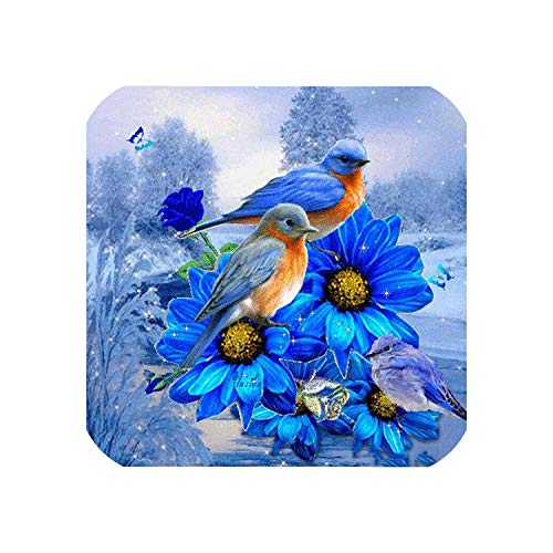 Wild-lOVE HOMFUN Complete/Square/Round Drill 5D DIY Diamond Painting Blue Flower and Bird 3D Embroidery Cross Stitch 5D Home Decoration A01527,Square Drill 120x120 by Wild-lOVE (Image #1)
