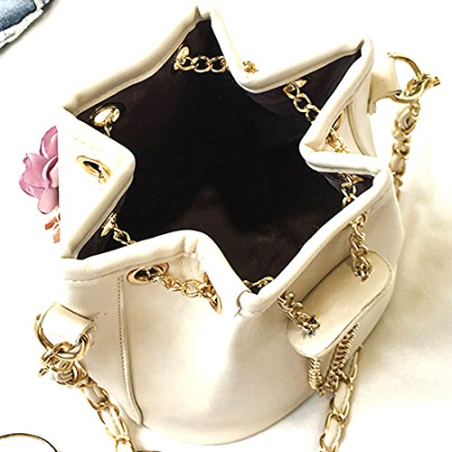 Embroidery Drawstring With Shoulder Plant PU Bag Bucket CLARA Body Women Bag Cactus Flowers Printing Beige Cross Chain Leather Bag FIxXTw