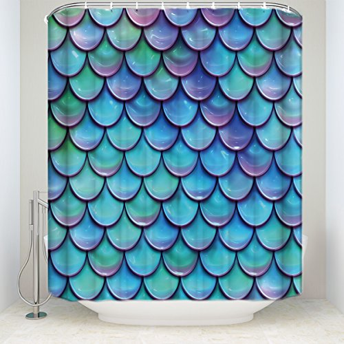 Ocean Theme Fairy Tale Home Decor Fish Scales Purple Blue Shower Curtains Mermaid Tail Geometric Bath Curtain Set 72x84Inches