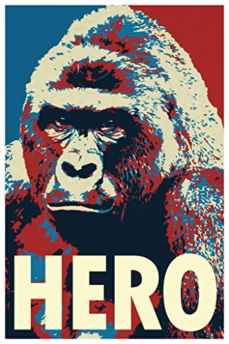 Gotham City Online Harambe Pop Art Hero Gorilla Memorial Portrait Poster 24x36 inch