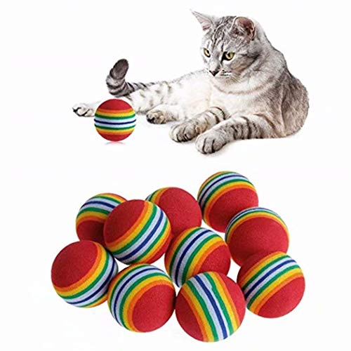 (Heyuni.10pcs Bulk Coloured Cat Toys Balls Soft EVA Foam Rainbow Balls Interactive Cats Dogs Toys)