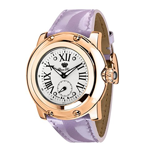 Glam Rock Women's Miami 46mm Lilac Leather Band Rose Gold Plated Case Swiss Quartz Analog Watch GR10062N