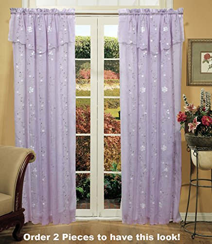 Floral Tan Panel - Creative Linens Daisy Embroidered Floral Window Curtain Panel 50x84 in 6 Colors - Gold, Ivory, Lavender, Mint Green, Pink, Taupe One Piece (Lavender)