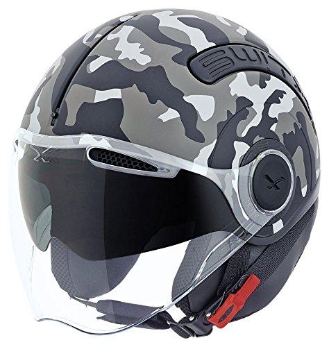 - Nexx SX.10 SX10 Switx Camo Grey Open Face Motorcycle Helmet (S)