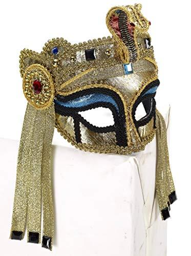 Jackal Halloween Mask (Forum Novelties Women's Deluxe Egyptian Mask with Eyeglass Arms, Gold/Blue, One)