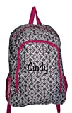 High Fashion Print Medium Sized BackpackCustom Personalization Available (Personalized Grey Twist with Pink Trim)