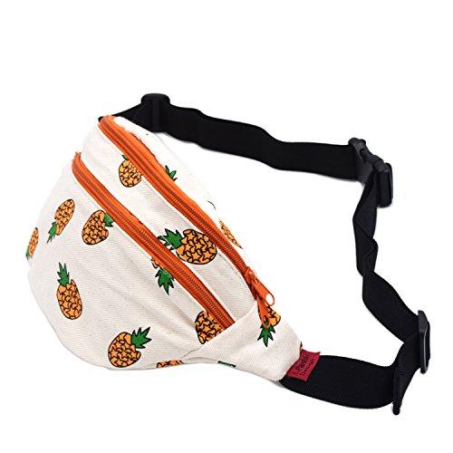LParkin Fanny Pack Pineapple Hip Bag Waist Bag Canvas Bum Belt Hip Pouch Bags Purses Festival (Orange)