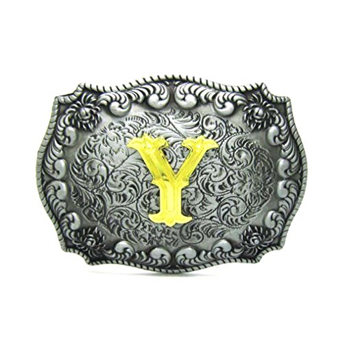 MASOP Alphabet Initial Letter Y Belt Buckle Head Mens Metal Western Cowboy