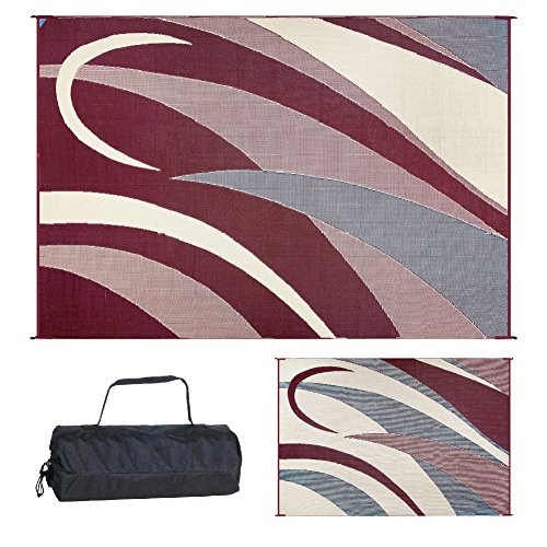 Ming's Mark GA5 Burgundy/Black 8' x 12' Graphic Reversible (Ming Floor)